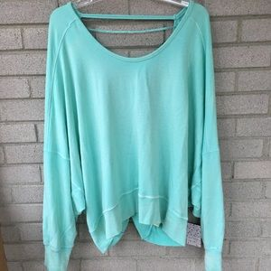Free People Mint Open Back Loose Scoop Soft Top